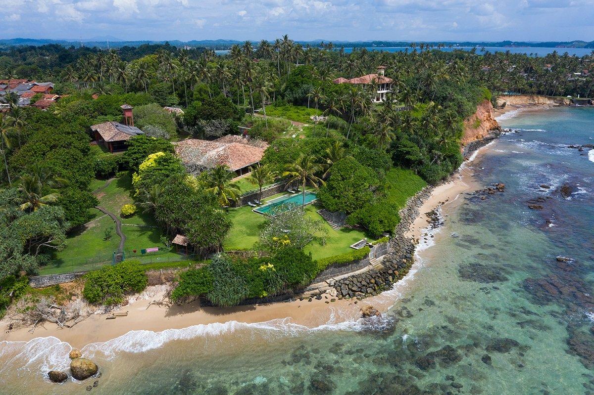 Drone Panoramic view LUxury villa weligama