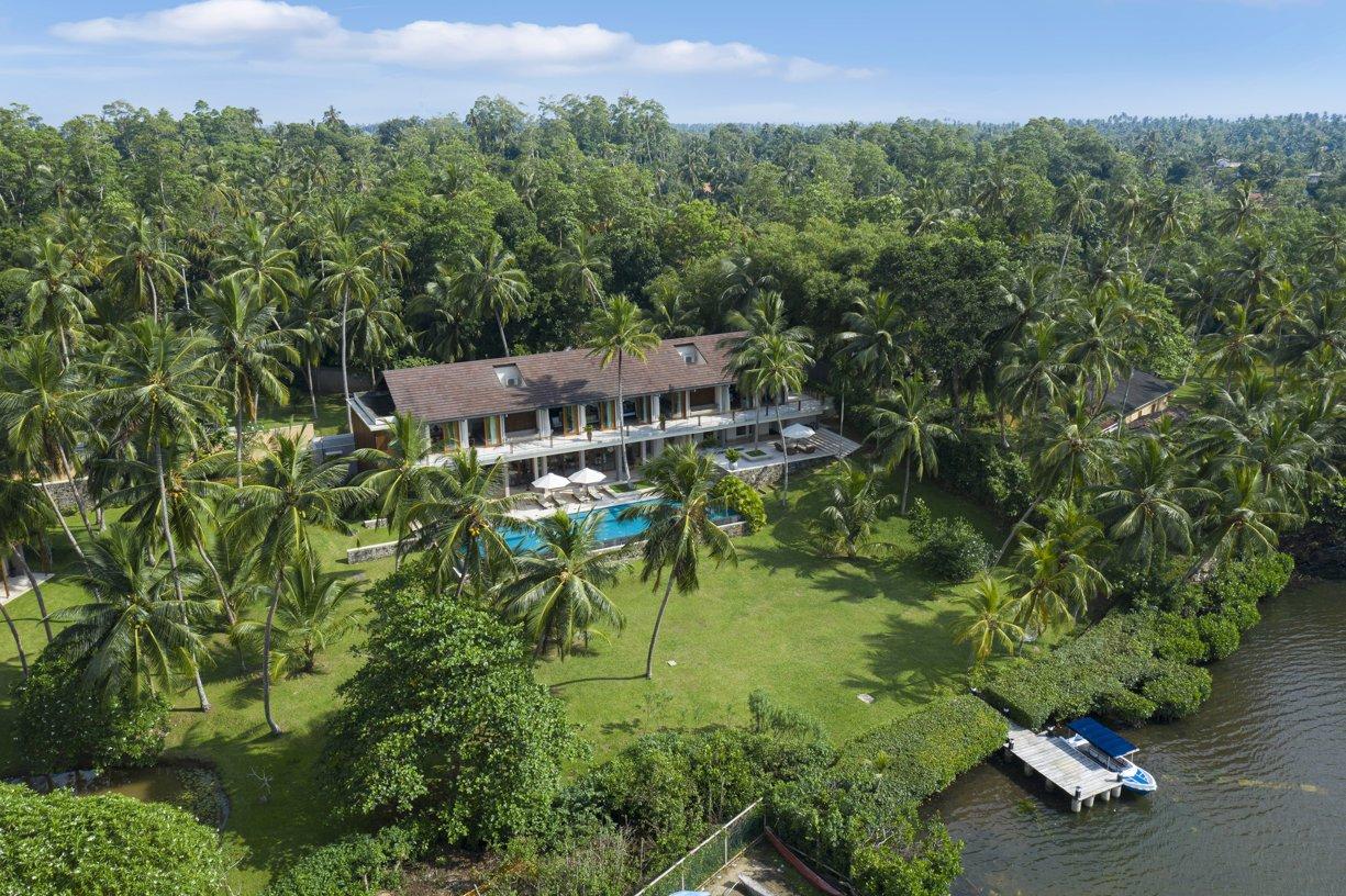 Drone House pool Serendipity Villa Koggala Lake